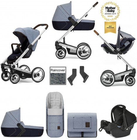 Mutsy I2 Farmer (Silver Chassis) Travel System (Gemm) With Carrycot & Accessories - Denim Sky Blue