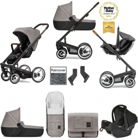 Mutsy I2 Farmer (Black Brown Chassis) Travel System (Gemm) With Carrycot & Accessories - Sand