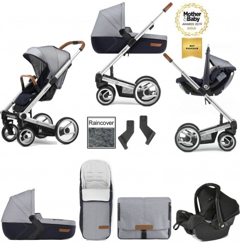 Mutsy I2 Urban Nomad (Silver Chassis) Travel System (Gemm) With Carrycot & Accessories - White Blue