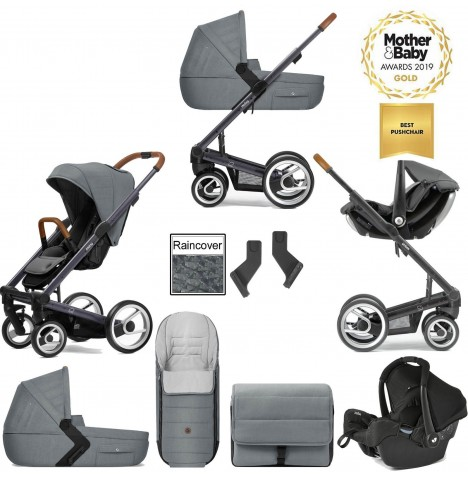 Mutsy I2 Heritage (Dark Grey Chassis) Travel System (Gemm) With Carrycot & Accessories - Heritage Concrete