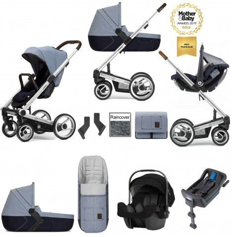 Mutsy I2 Farmer (Silver Chassis) Travel System (Pipa Icon) With Isofix Base, Carrycot & Accessories - Denim Sky Blue