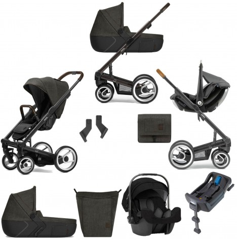 Mutsy I2 Farmer (Black Brown Chassis) Travel System (Pipa Icon) With Isofix Base, Carrycot & Accessories - Forest