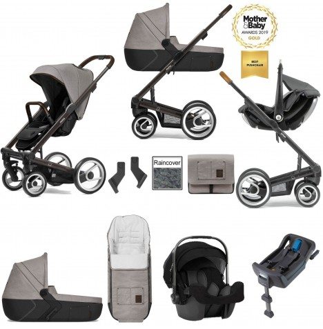 Mutsy I2 Farmer (Black Brown Chassis) Travel System (Pipa Icon) With Isofix Base, Carrycot & Accessories - Sand