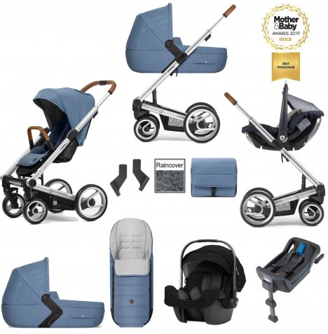 Mutsy I2 Heritage (Silver Chassis) Travel System (Pipa Icon) With Isofix Base, Carrycot & Accessories - Heritage Blue