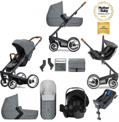 Mutsy I2 Heritage (Dark Grey Chassis) Travel System (Pipa Icon) With Isofix Base, Carrycot & Accessories - Heritage Concrete