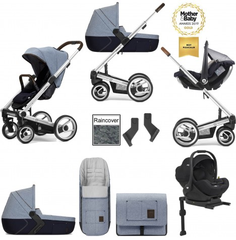 Mutsy I2 Farmer (Silver Chassis) Travel System (i-Level) With Isofix Base, Carrycot & Accessories - Denim Sky Blue