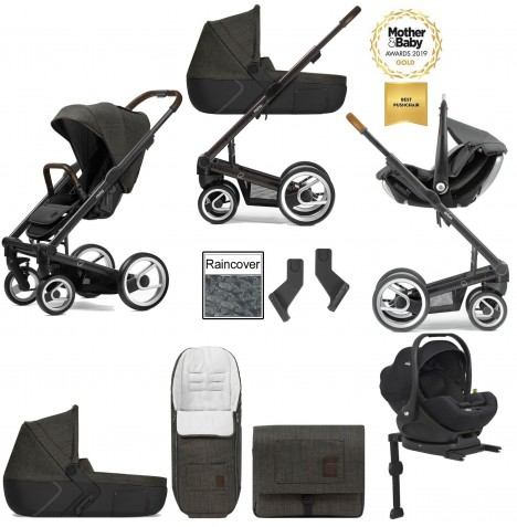 Mutsy I2 Farmer (Black Brown Chassis) Travel System (i-Level) With Isofix Base, Carrycot & Accessories - Forest