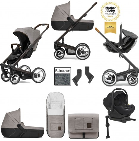 Mutsy I2 Farmer (Black Brown Chassis) Travel System (i-Level) With Isofix Base, Carrycot & Accessories - Sand