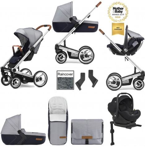 Mutsy I2 Urban Nomad (Silver Chassis) Travel System (i-Level) With Isofix Base, Carrycot & Accessories - White Blue