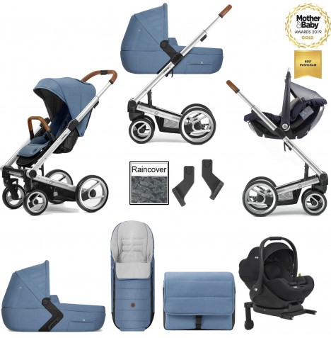 Mutsy I2 Heritage (Silver Chassis) Travel System (i-Level) With Isofix Base, Carrycot & Accessories - Heritage Blue