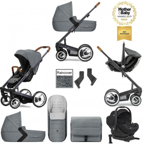 Mutsy I2 Heritage (Dark Grey Chassis) Travel System (i-Level) With Isofix Base, Carrycot & Accessories - Heritage Concrete