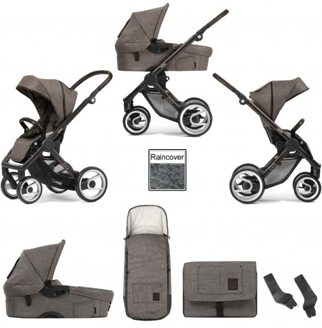 Mutsy Evo Farmer (Black Brown Chassis) 3in1 Pushchair With Carrycot & Accessories - Earth