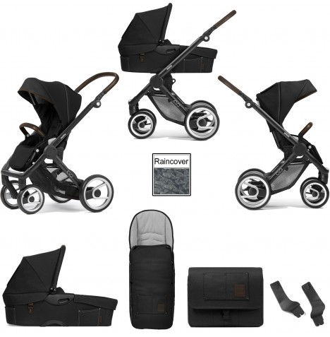 Mutsy Evo Farmer (Black Chassis) 3in1 Pushchair With Carrycot & Accessories - Anthracite