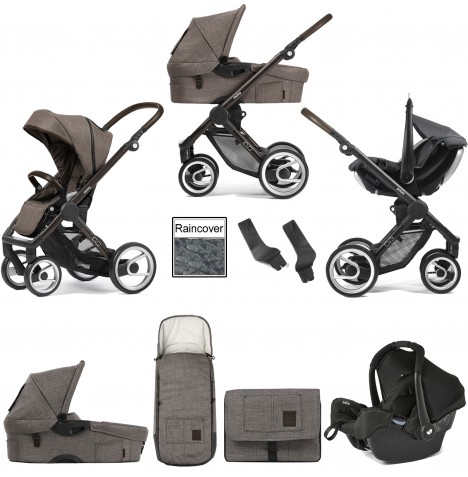 Mutsy Evo Farmer (Black Brown Chassis) Travel System (Gemm) With Carrycot & Accessories - Earth