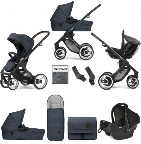 Mutsy Evo Farmer (Green Blue Chassis) Travel System (Gemm) With Carrycot & Accessories - Stonewash Denim Blue