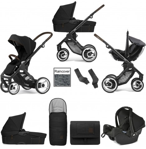 Mutsy Evo Farmer (Black Chassis) Travel System (Gemm) With Carrycot & Accessories - Anthracite Black