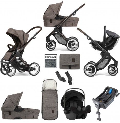 Mutsy Evo Farmer (Black Brown Chassis) Travel System (Pipa Icon) With Isofix Base, Carrycot & Accessories - Earth