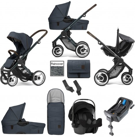 Mutsy Evo Farmer (Green Blue Chassis) Travel System (Pipa Icon) With Isofix Base, Carrycot & Accessories - Stonewash