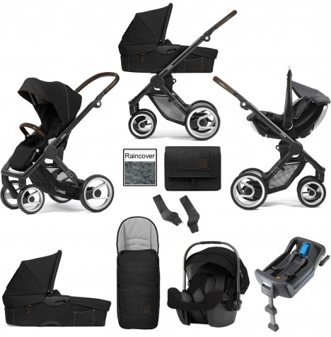 Mutsy Evo Farmer (Black Chassis) Travel System (Pipa Icon) With Isofix Base, Carrycot & Accessories - Anthracite