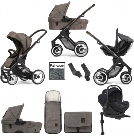 Mutsy Evo Farmer (Black Brown Chassis) Travel System (i-Level) With Isofix Base, Carrycot & Accessories - Earth