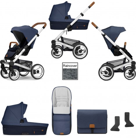 Mutsy Nio North (Standard Chassis) 3in1 Pushchair With Carrycot & Accessories - Sailor Blue
