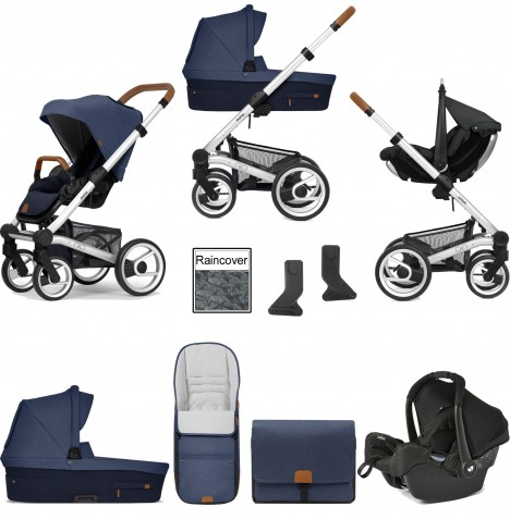 Mutsy Nio North (Standard Chassis) Travel System (Gemm) With Carrycot & Accessories - Sailor Blue