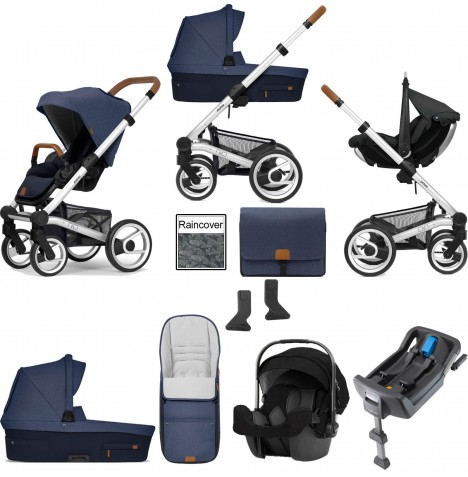 Mutsy Nio North (Standard Chassis) Travel System (Pipa Icon) With Isofix Base, Carrycot & Accessories - Sailor Blue