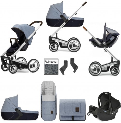 Mutsy I2 Farmer (Silver Chassis) Travel System (Gemm) With Carrycot & Accessories - Sky..