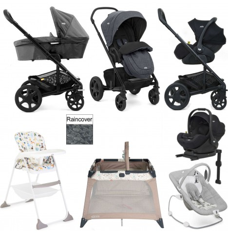 Joie Chrome DLX Everything You Need I-Level Travel System (With Carrycot) Bundle - Pavement