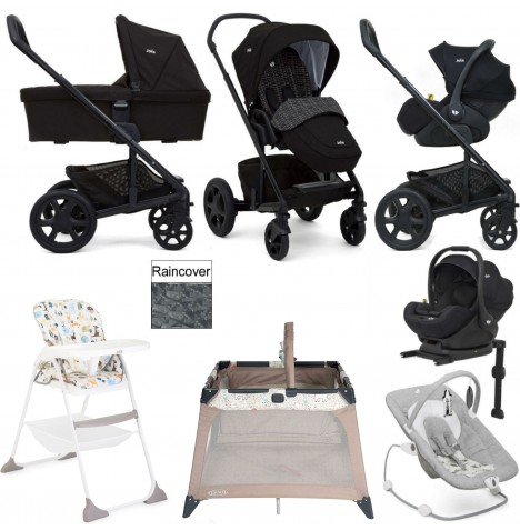 Joie Chrome DLX Everything You Need I-Level Travel System (With Carrycot) Bundle - Dots Black