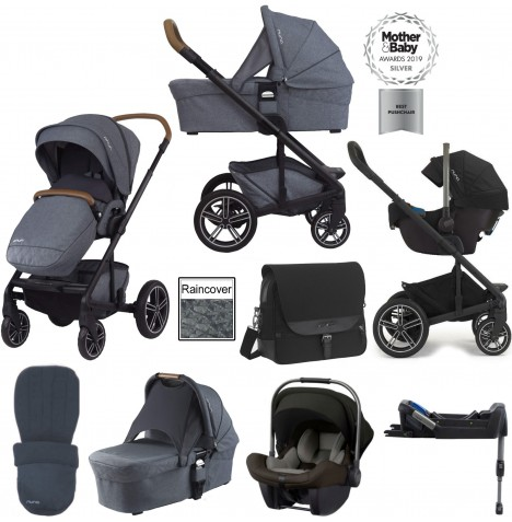 Nuna Mixx (Pipa Lite) Travel System, Isofix Base, Carrycot & Accessories - Aspen