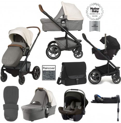 Nuna Mixx (Pipa Lite) Travel System, Isofix Base, Carrycot & Accessories - Birch