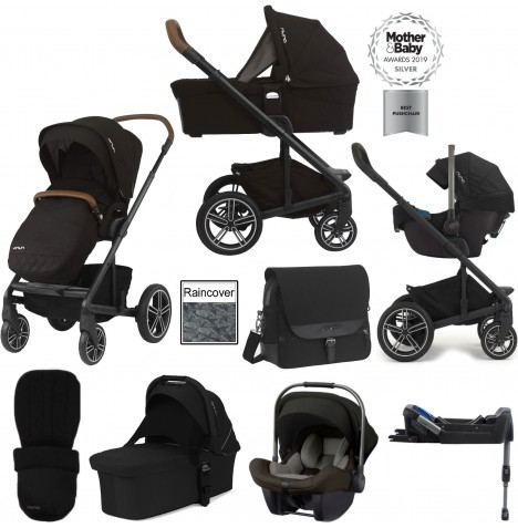 Nuna Mixx (Pipa Lite) Travel System, Isofix Base, Carrycot & Accessories - Caviar