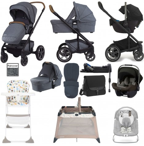 Nuna Mixx Everything You Need Travel System, Isofix Base, Carrycot & Accessories Bundle - Aspen