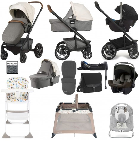 Nuna Mixx Everything You Need Travel System, Isofix Base, Carrycot & Accessories Bundle - Birch
