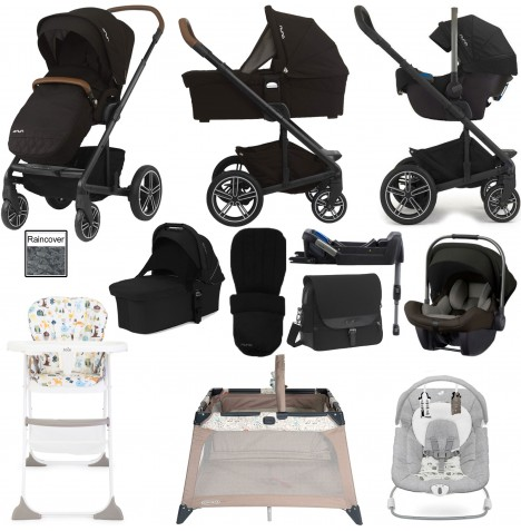 Nuna Mixx Everything You Need Travel System, Isofix Base, Carrycot & Accessories Bundle - Caviar