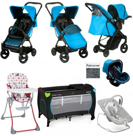 Hauck / Joie Icoo Acrobat Shop N Drive Everything You Need Travel System Bundle - Fishbone / Blue..