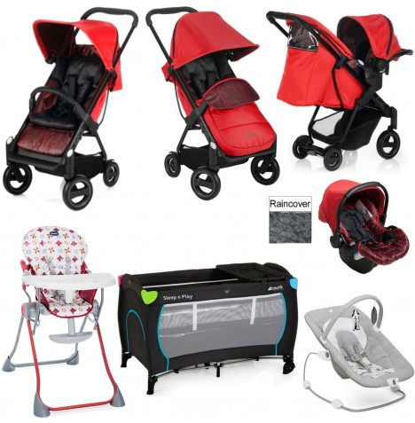 Hauck / Joie Acrobat Shop N Drive Everything You Need Travel System Bundle - Fishbone / Red..