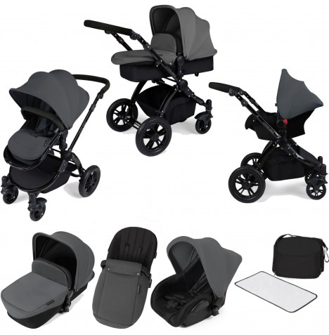 ickle bubba Stomp V2 (Black Frame) All In One Travel System - Grey