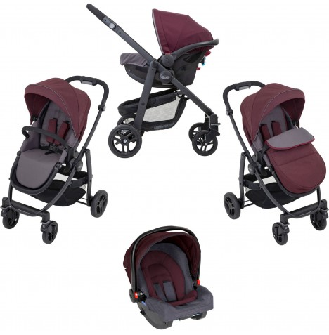 Graco Evo (SnugRide R44) Pushchair Travel System - Crimson
