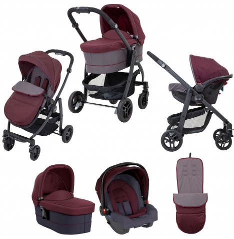 Graco Evo Trio Travel System - Crimson