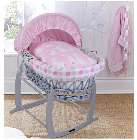 Clair De Lune Padded Grey Wicker Baby Moses Basket & Deluxe Rocking Stand - Rabbits Pink