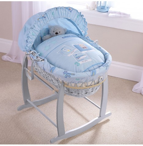 Clair De Lune Padded Grey Wicker Baby Moses Basket & Deluxe Rocking Stand - Ahoy
