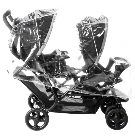 4Baby Universal Double Tandem Pushchair Raincover