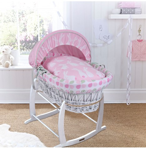 Clair De Lune Padded White Wicker Baby Moses Basket & Deluxe Rocking Stand - Rabbits Pink