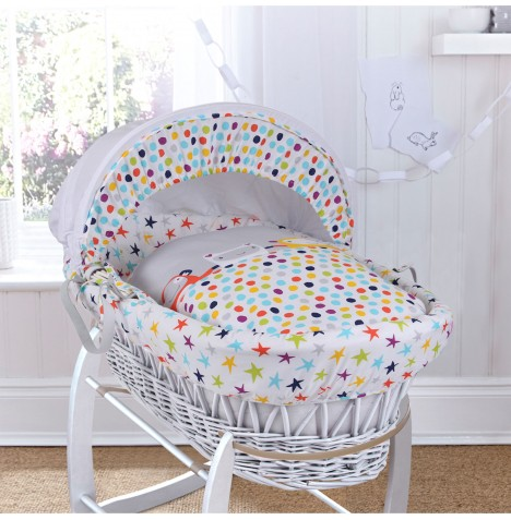 Clair De Lune Deluxe Padded White Wicker Baby Moses Basket - Grey / Brights