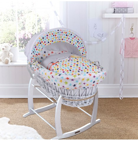 Clair De Lune Padded White Wicker Baby Moses Basket & Deluxe Rocking Stand - Grey / Brights