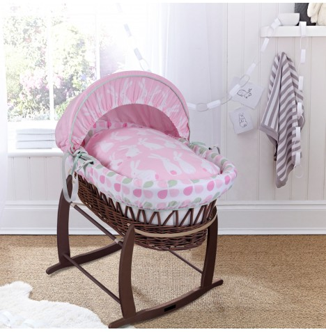 Clair De Lune Padded Dark Wicker Baby Moses Basket & Deluxe Rocking Stand - Rabbits Pink