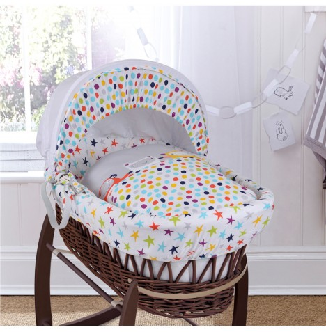 Clair De Lune Deluxe Padded Dark Wicker Baby Moses Basket - Grey / Brights