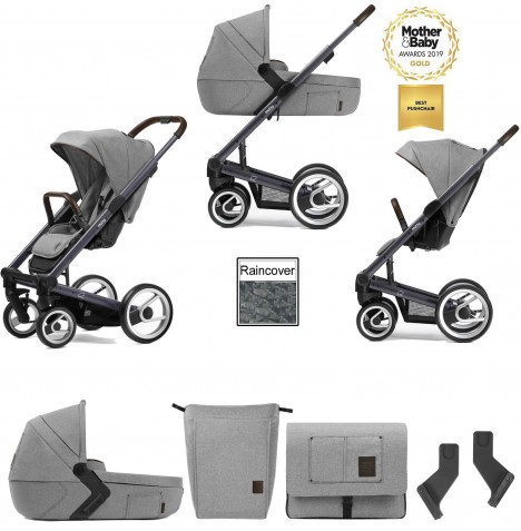 Mutsy I2 Farmer (Dark Grey Chassis) 3in1 Pushchair With Carrycot & Accessories - Mist / Concrete